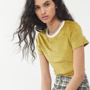Urban Outfitters   NWT Velour Shortsleeve Crop Top